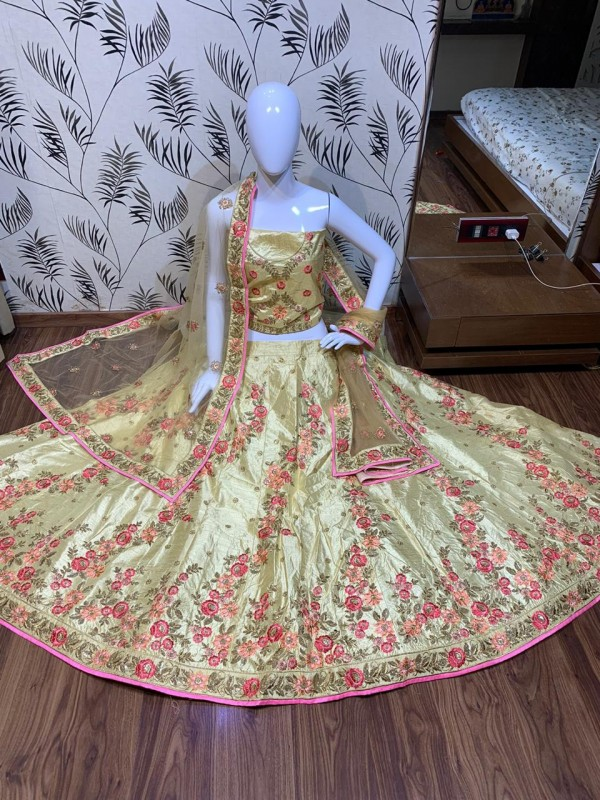 Satin silk Party Wear Lehenga In Pastel Yellow  Color With Embroidery Work