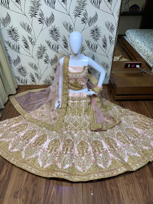 Satin silk Party Wear Lehenga In Pastel Pink Color With Embroidery Work