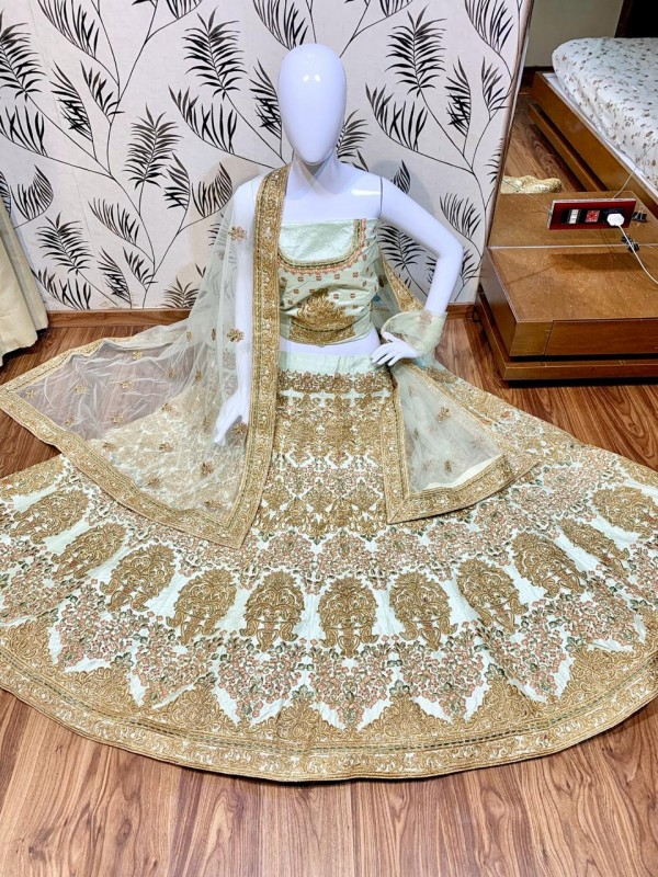 Satin silk Party Wear Lehenga In Pastel Green Color With Embroidery Work