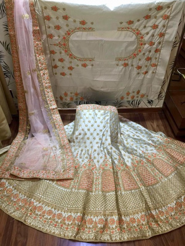 Satin silk Party Wear Lehenga In Off White Color With Embroidery Work