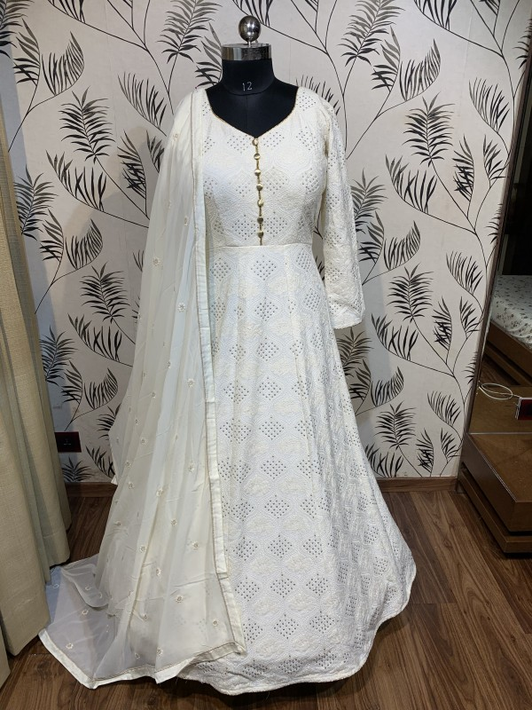 Pure Heritage Silk Wedding Wear Gown in Off white Color with Embroidery Work & Sequence Work