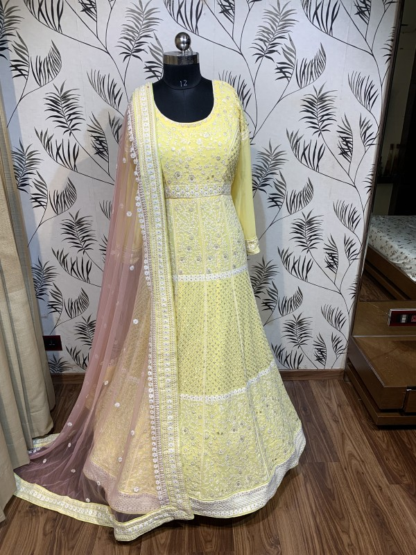 Pure Georgette Fabrics Wedding Wear Gown in Yellow Color with Lucknowi Embroidery Work & Sequence Work