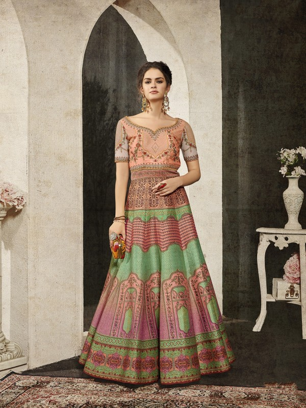 Pure Heritage Silk Party Wear Gown In Green With Digital Print Work & Stone Work