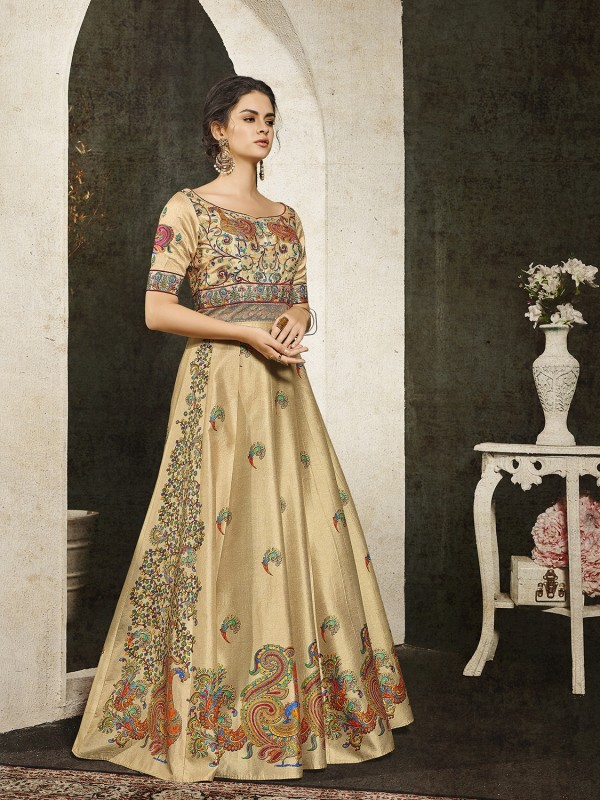 Pure Heritage Silk Party Wear Gown In Beige With Digital Print Work & Stone Work