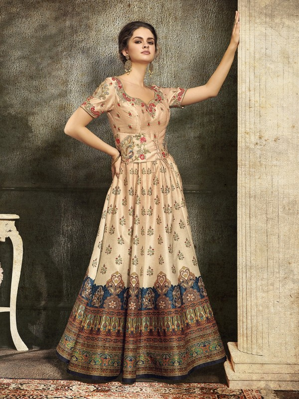 Pure Heritage Silk Party Wear Gown In Beige color With Digital Print Work & Stone Work