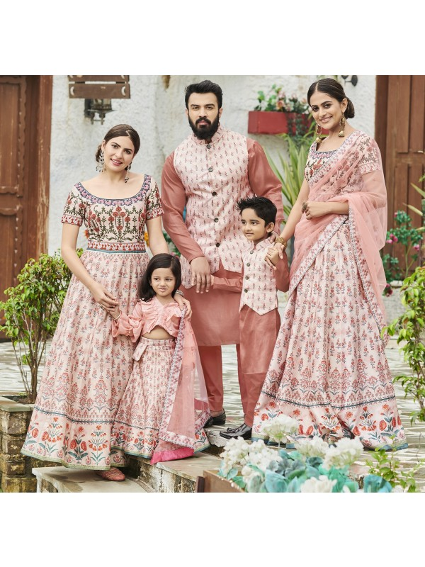 Pure Heritage Silk Wedding Wear Full Family Combo in Light Peach color Digital Print Work & Stone Work