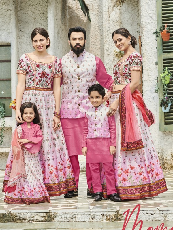 Pure Heritage Silk Wedding Wear Full Family Combo in Off white color Digital Print Work & Stone Work