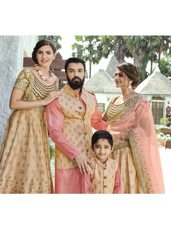 Pure Heritage Silk Wedding Wear Full Family Combo in Beige color Digital Print Work & Stone Work