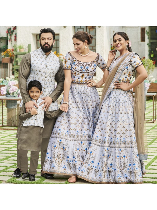 Pure Heritage Silk Wedding Wear Full Family Combo in Light Grey color Digital Print Work & Stone Work