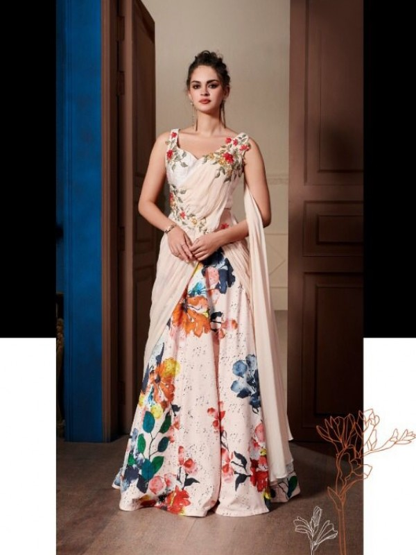 Digital Silk Party Wear Gown  In Pink  Embroidery Work