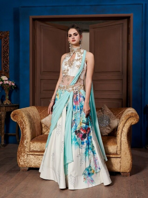 Digital Silk Party Wear Gown  In White & Blue  Embroidery Work