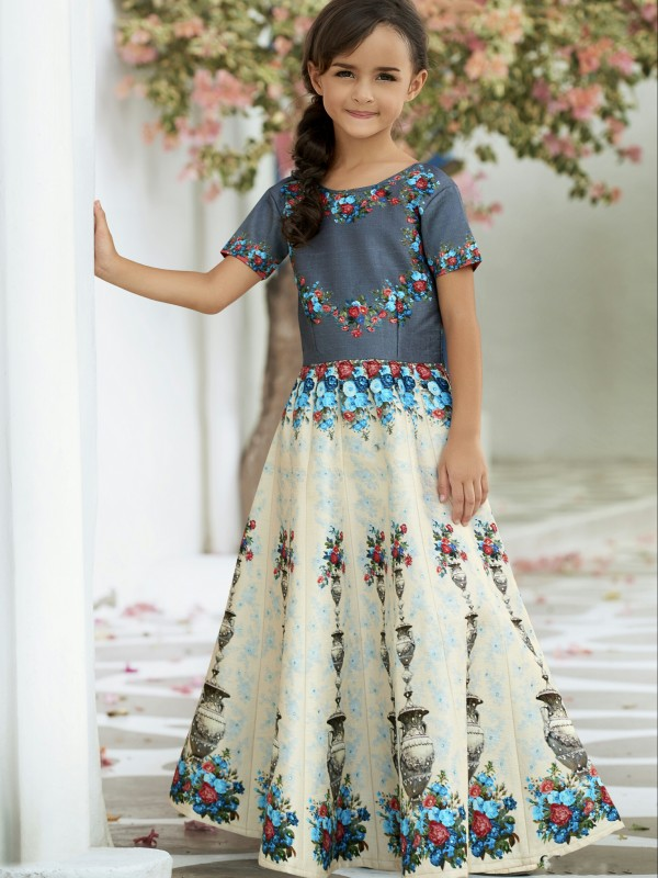 Pure Heritage Silk Party Wear Kids Gown In Grey WIth Digital Print Work & Stone Work