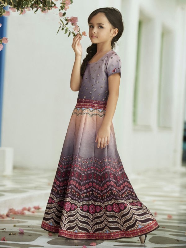 Pure Heritage Silk Party Wear Kids Gown In Purple WIth Digital Print Work & Stone Work