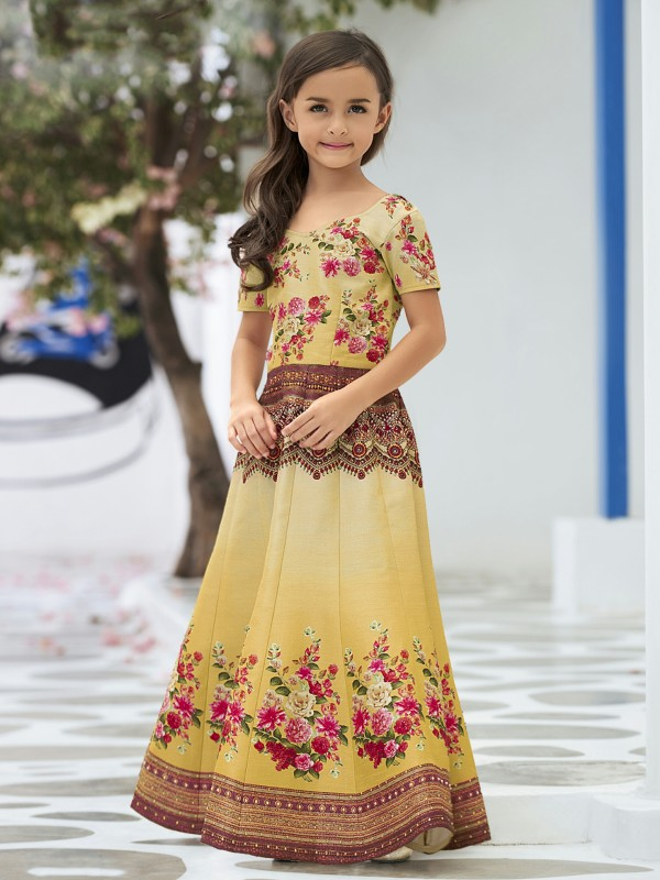 Pure Heritage Silk Party Wear Kids Gown In Yellow WIth Digital Print Work & Stone Work