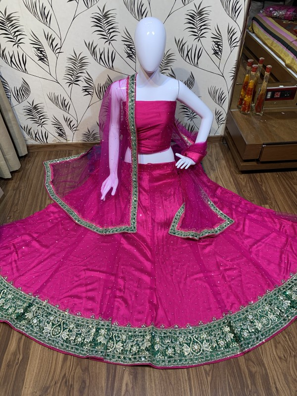 Digital Net Pink With Hand Work and Stone Work