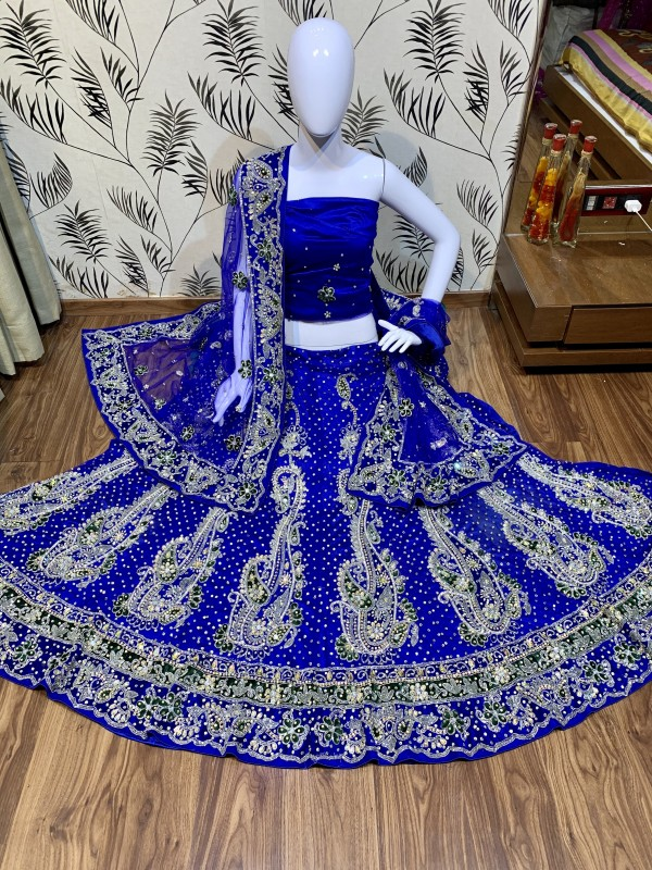 Digital Net Blue With Hand Work and Stone Work