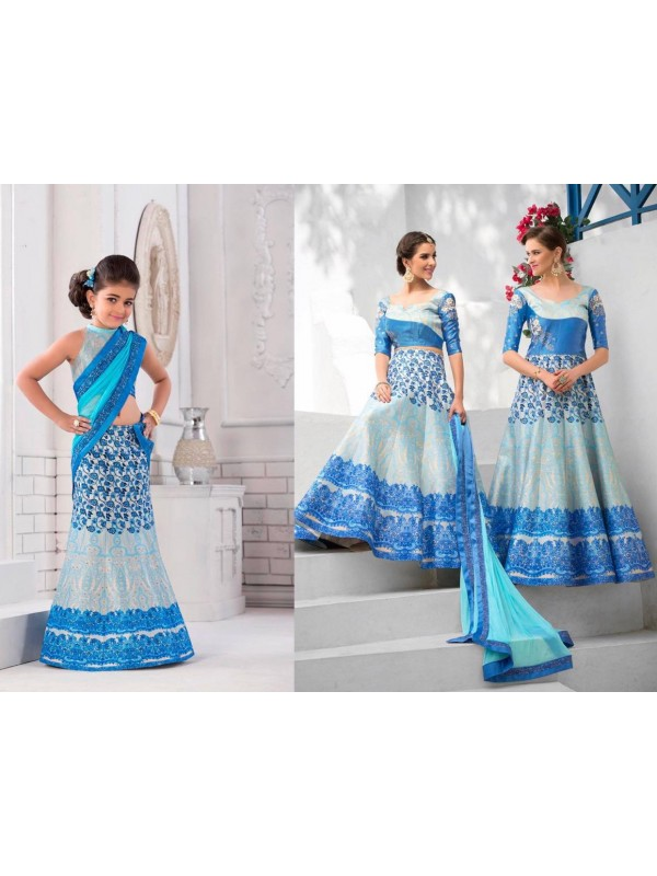 Pure Heritage Silk Party Wear Mother Daughter Lehenga In Sky Blue With Digital Print Work & Stone Work