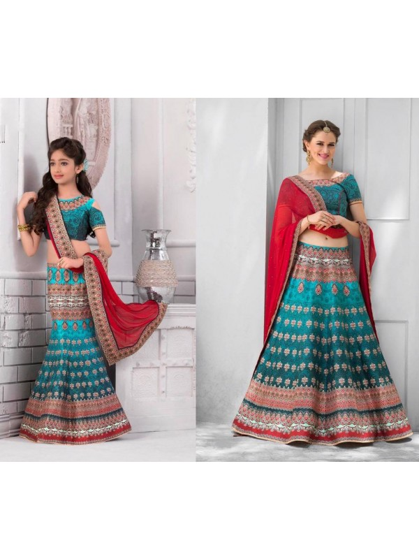 Pure Heritage Silk Party Wear Mother Daughter Lehenga In Dark Turquoise With Digital Print Work & Stone Work