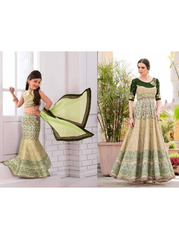 Pure Heritage Silk Party Wear Mother Daughter Lehenga In Green With Digital Print Work & Stone Work