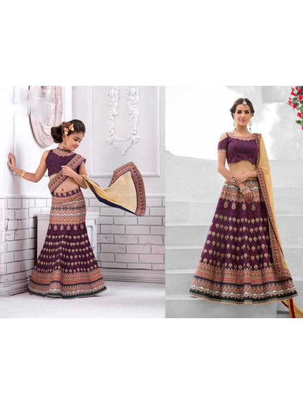Pure Heritage Silk Party Wear Mother Daughter Lehenga In Violet With Digital Print Work & Stone Work