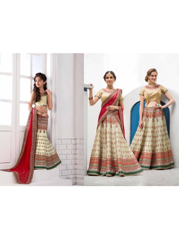 Pure Heritage Silk Party Wear Mother Daughter Lehenga In Beige With Digital Print Work & Stone Work