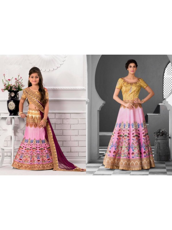 Pure Heritage Silk Party Wear Mother Daughter Lehenga In Beige&Pink With Digital Print Work & Stone Work