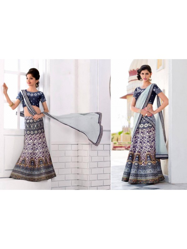 Pure Heritage Silk Party Wear Mother Daughter Lehenga In Royal Blue With Digital Print Work & Stone Work