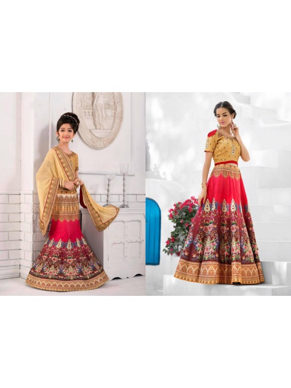 Pure Heritage Silk Party Wear Mother Daughter Lehenga In Beige&Red With Digital Print Work & Stone Work