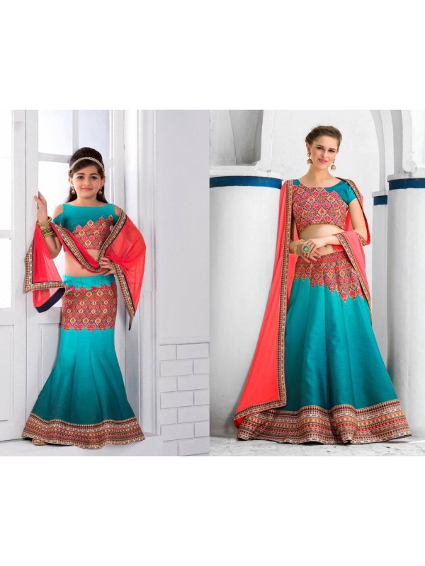 Pure Heritage Silk Party Wear Mother Daughter Lehenga In Turquoise With Digital Print Work & Stone Work