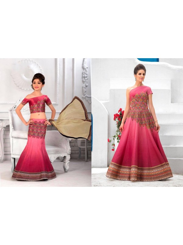 Pure Heritage Silk Party Wear Mother Daughter Lehenga In Dark Pink With Digital Print Work & Stone Work