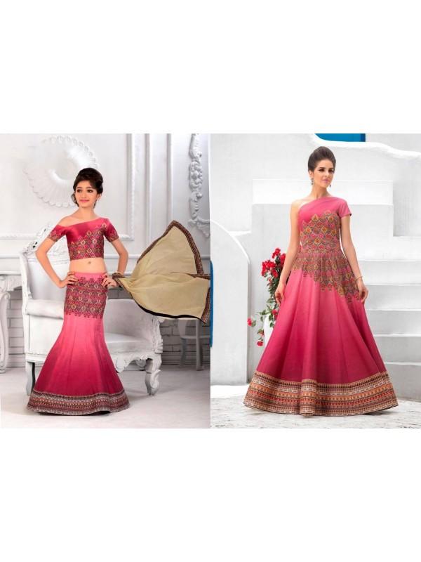 Pure Heritage Silk Party Wear Mother Daughter Lehenga In Dark Pink With Digital Print Work & Stone Work