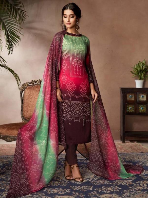 Zam Sateen Casual Wear Suit In Multi Color With Jaipuri Print