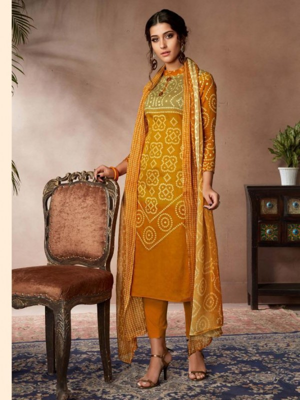 Zam Sateen Casual Wear Suit In Mustard Color With Jaipuri Print