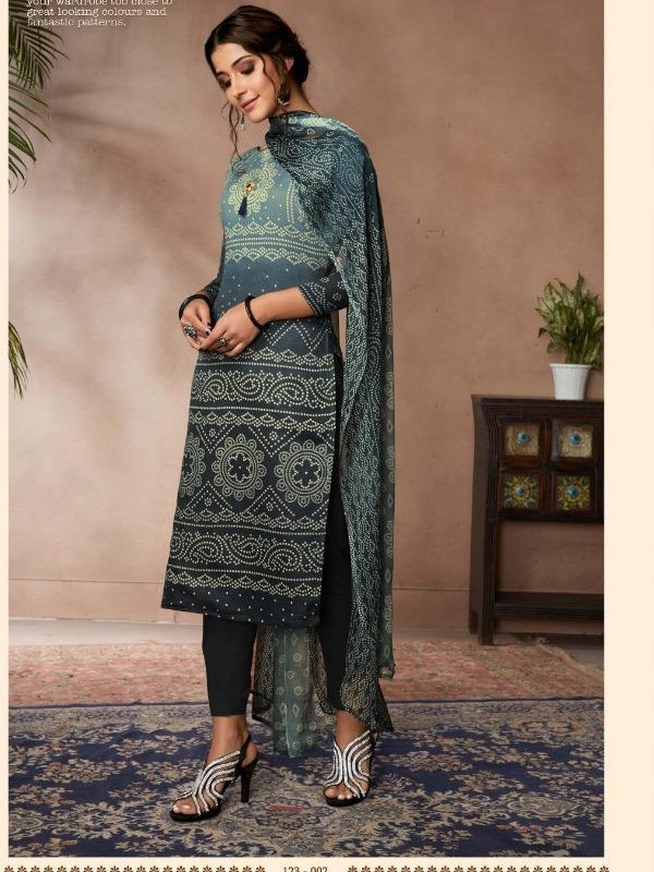 Zam Sateen Casual Wear Suit In Grey Color With Jaipuri Print
