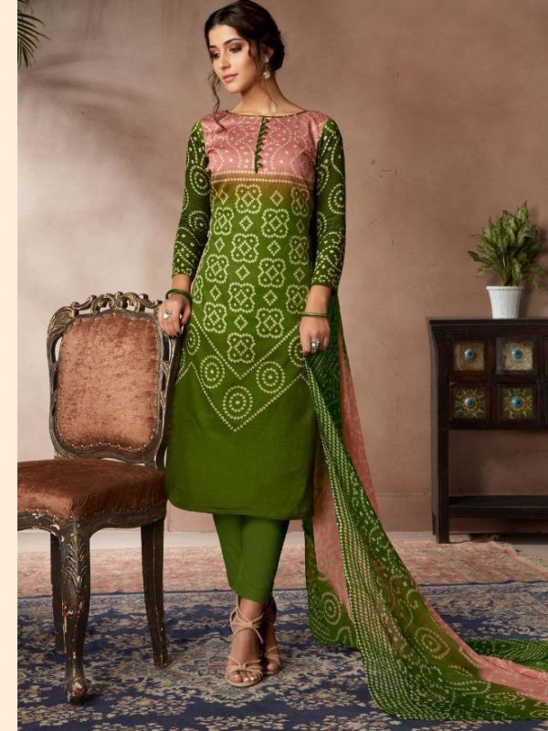 Zam Sateen Casual Wear Suit In Green Color With Jaipuri Print