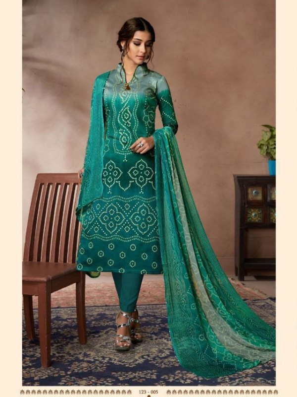 Zam Sateen Casual Wear Suit In Turquoise Color With Jaipuri Print