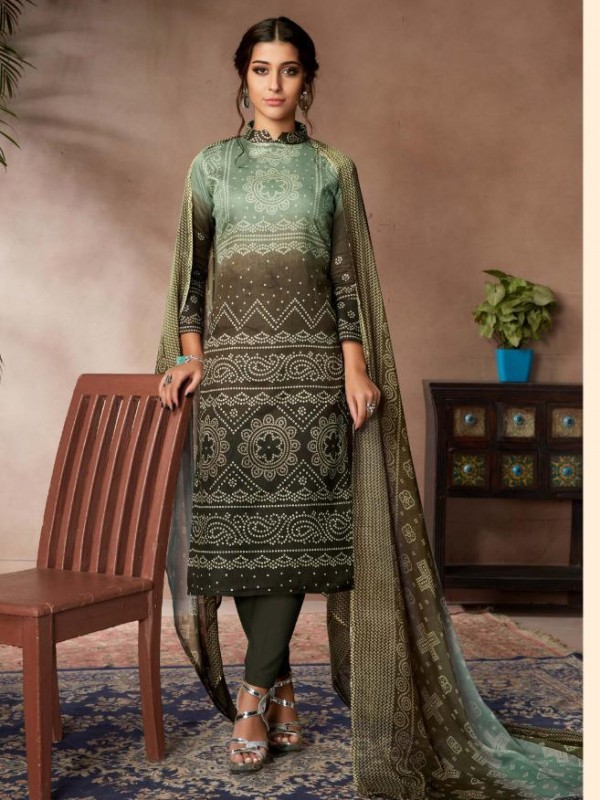Zam Sateen Casual Wear Suit In Brown Color With Jaipuri Print