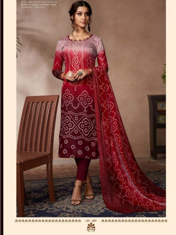 Zam Sateen Casual Wear Suit In Pink Color With Jaipuri Print