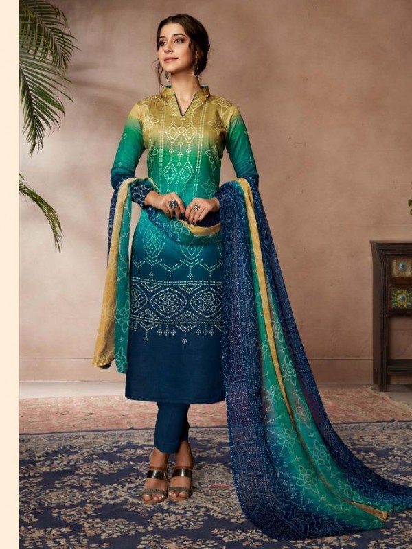 Zam Sateen Casual Wear Suit In Blue Color With Jaipuri Print
