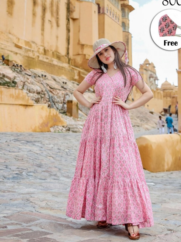 Muslin Fabric Long Kurti In Pink Color