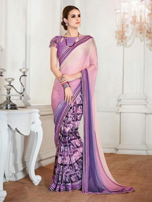 Premium Georgette Casual Wear Saree in Purple color