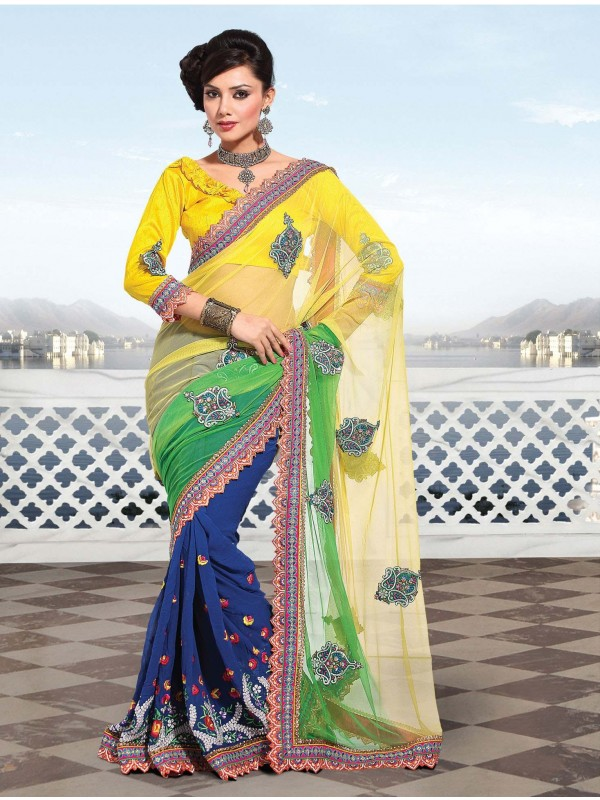 Soft Premium Net Party Wear Saree In Yellow With Embroidery Work