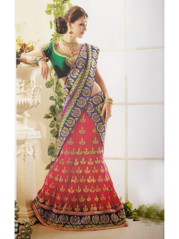 Soft Net Party Wear Lehenga Saree In Red With Crystal Stone Work