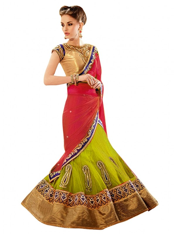 Soft Premium Net Party Wear Lehenga Saree In Green With Crystal Stone Work