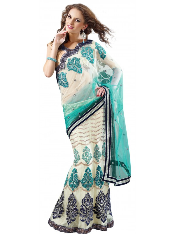 Soft Premium Net Party Wear Lehenga Saree In White With Crystal Stone Work