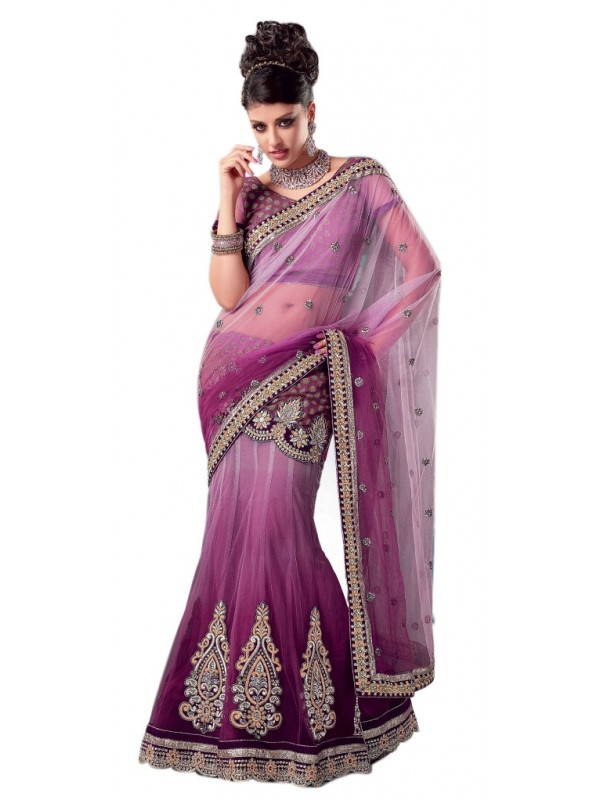 Soft Premium Net Party Wear Lehenga Saree In Purple Embroidery & Crystals Stone Work