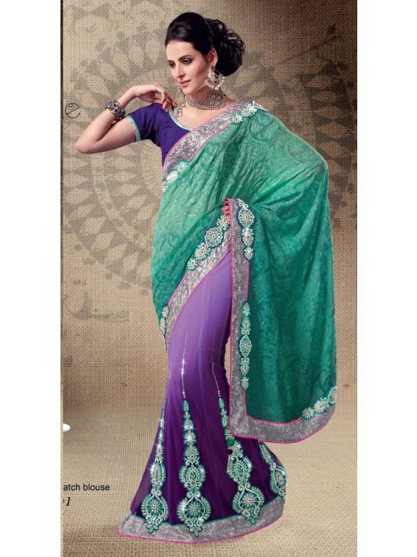 Soft Premium Net Party Wear Lehenga Saree In Rama & Purple With Crystal Stone Work