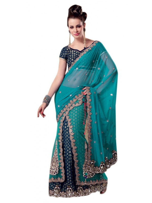 Soft Premium Net Party Wear Lehenga Saree In Sky Blue Embroidery & Crystals Stone Work