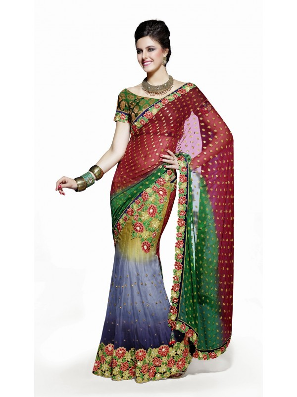 Soft Premium Net Party Wear Lehenga Saree In Multicolor With Embroidery & Stone Work