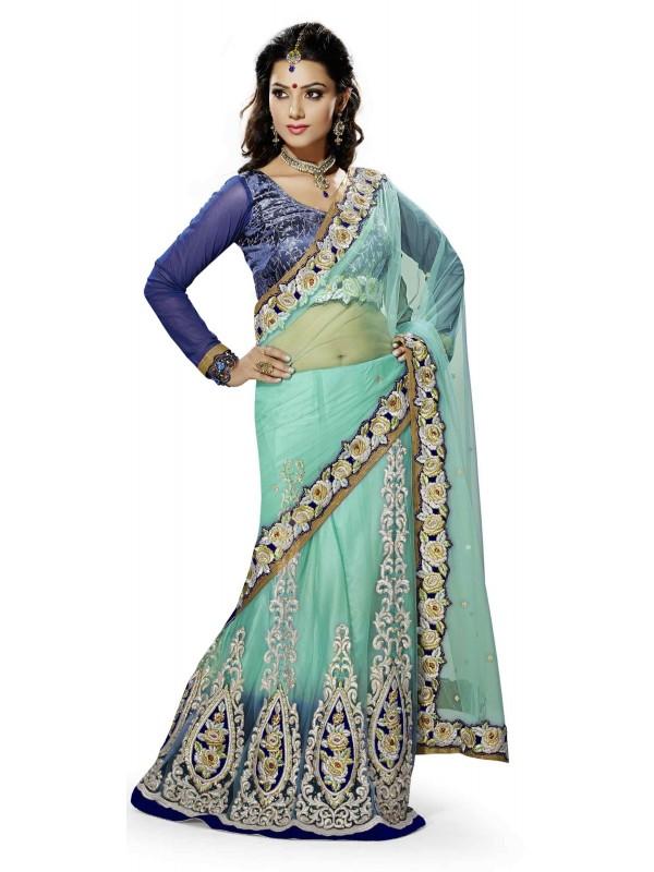 Soft Premium Net Party Wear Lehenga Saree In Rama With Crystal Stone Work